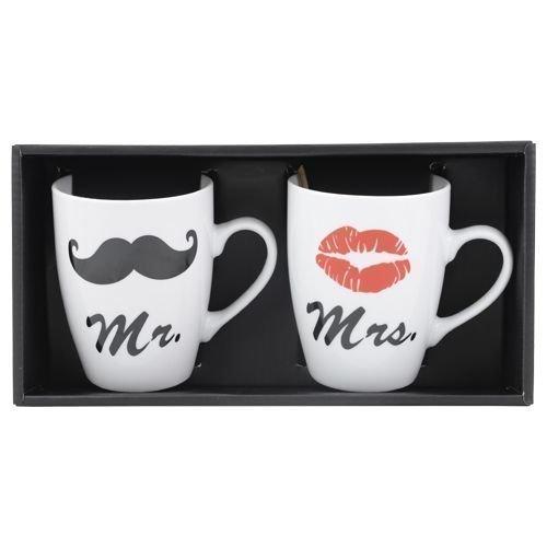DRULINE MR & Mrs Kaffeebecher Set Kaffeetassen Valentinstag Tassen Kaffee Kussmund Schnauzer