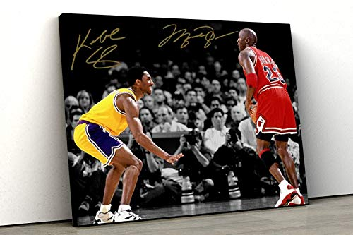 Michael Jordan Kobe Bryant Chicago Bulls LA Lakers The Matchup Signed Photo Autograph Poster | Michael Jordan Wall Art | Sports Wall Art Rolled Canvas 8 × 12 Inches