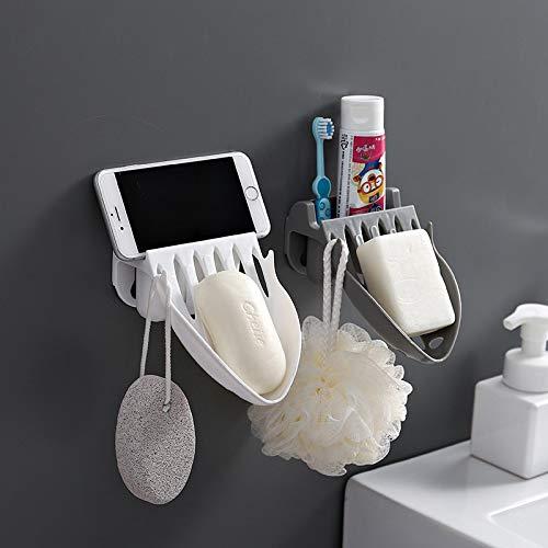 yuery Jabonera de baño con plato de drenaje de agua y jabón de almacenamiento, bandeja de ducha, bandeja de baño, sin perforaciones, caja de plástico, estante de pared, color blanco