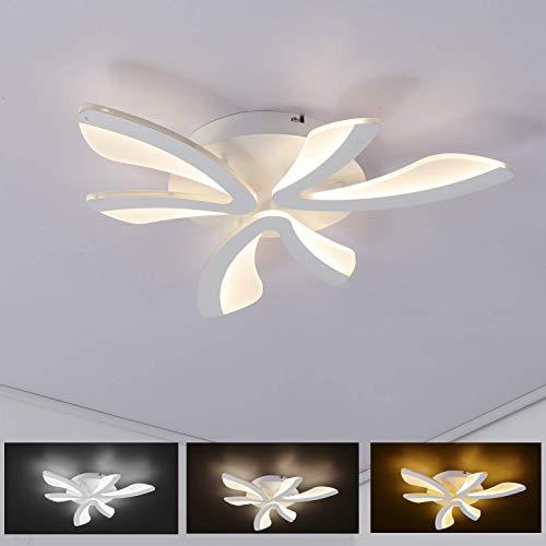 CattleBie Luz de techo moderna LEDDimmable, la lámpara de techo con mando a distancia, elegantes curvado diseño luces de la habitación, 1900LM, 24 vatios, 3000K -6000K, persiana acrílico, metal, for s