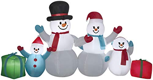 Gemmy Winter Snowman Collection Scene 4.5 FT TAL x 9 FT LONG