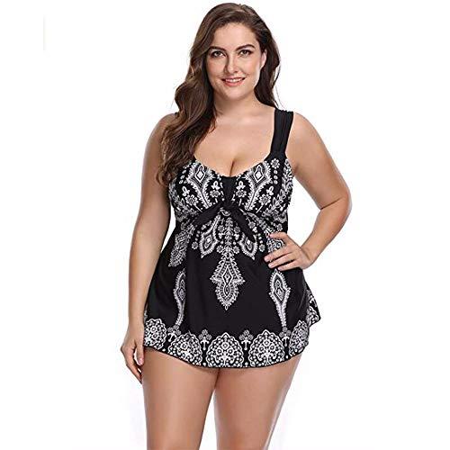 Divgdovg Conjunto Bikini Mujer Dos Piezas Estampado Falda Verano para Playa Ropa de Baño Punto Floral Sin Manga Tirante Talla Grande Tankini Falda Y Pantalones Cortos Conjuntos,Negro,68(105-115kg)