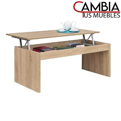 CAMBIA TUS MUEBLES - Mesa de Centro elevable para Comedor, salón Premier, Mesa Auxiliar en Color Roble o Blanco (Roble)