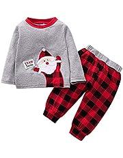 Conjuntos Bebé Niña Navidad 2pcs Conjunto Ropa Bebe Unisex Recien Nacido Invierno Algodón Pijama 3-24 Meses Niños Santa Claus Impresión Camiseta Sudadera de Manga Larga Tops + Pantalones vpass