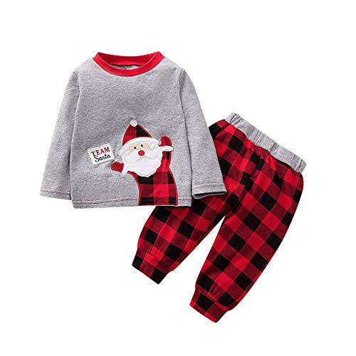 Fossen Kids - Pijamas Casero de Recién Nacido Bebé Navidad, Impresión de Santa Claus Top + Pantalones a Cuadros