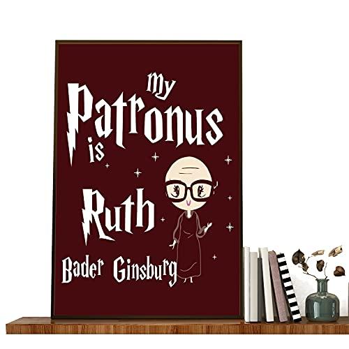 American Judge - Poster su tela con scritta 'My Patronus is Ruth Bader Ginsburg su tela, motivo: citazioni di Ruth Bader Ginsburg