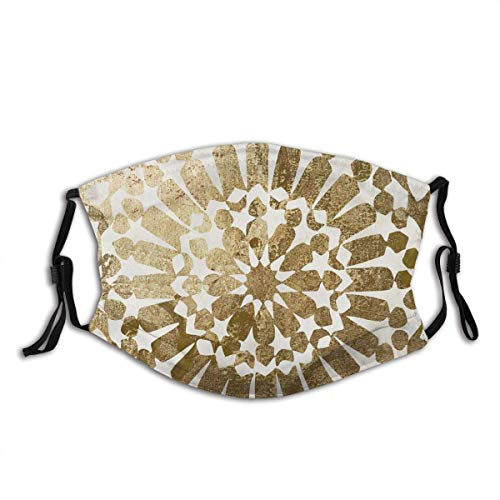 Decoración Facial Face Cover Gold and White Mandala Star Seamless Pattern Ethnic Windproof Mouth Cover Outdoor Camping Motorcycle Running Neck Gaiter