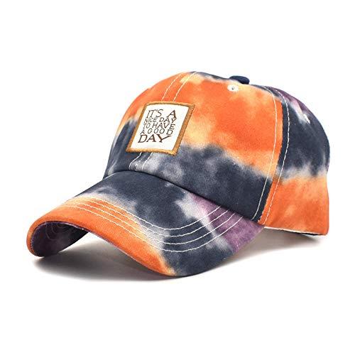 YYLKKB Bordado Casual para Hombres Gorras de béisbol de algodón Tie-Tinte Ajustable al Aire Libre Gorras de Viaje Sombreros de Sol-Naranja_M (56-60 cm)
