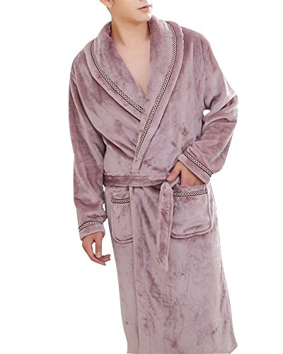 ZiXing Damen Herren Couple Fleece Bademantel Morgenmantel Nightwear Lila Large