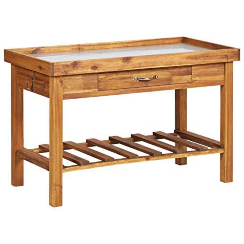 vidaXL Planteringsbord med ovansida i zink massivt akaciaträ