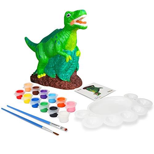 Ulikey Regalos para Niñas, Hucha Dinosaurio para Pintar, Juguete Pintura de DIY, Kit Pintura y Accesorios Infantiles, Pinceles, Colores y Paleta, Regalos para Niñas Cumpleaños y Fiestas (Dinosaurio)
