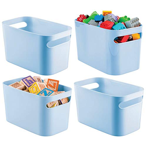 mDesign Plastic Toy Box Storage Organizer Tote Bin with Handles for Child/Kids Bedroom, Toy Room, Playroom - Holds Action Figures, Crayons, Building Blocks, Crafts - 10 Inches, 4 Pack - Light Blue