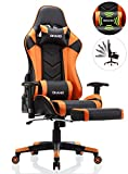 OHAHO Gaming Chair Racing Style Office Chair Adjustable Massage Lumbar Cushion Swivel Rocker Recliner Leather High Back Ergonomic Computer Desk Chair with Retractable Arms and Footrest (Black\/Orange)