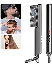 Hair Straightener Brush,Beard Straightener Comb,Ceramic Heating,6 Temperature Control,Anti-Scald,Frizz-Free,30s Fast Heat Up, Auto Off, Portable Hair Straightening Comb,For Men & Women