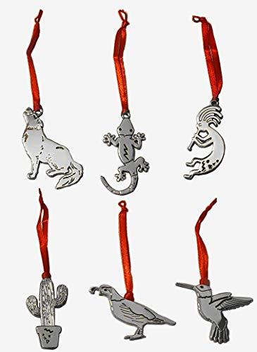 Paquete de 6 Adornos en Miniatura de Regalo de Arizona (Plata) – 6 diseños Surtidos inspirados en el Desierto de Sonoran Arizona State Plata Turquesa Adorno Navidad Cactus Decoraciones