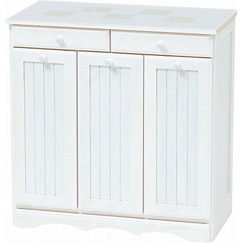 ダストボックス ゴミ箱 キッチン収納 3分別 15L 収納 完成品 天板タイル キャスター付き 木製 カントリー おしゃれ (ホワイトウォッシュ)