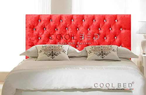 CRUSHED VELVET 26' CHESTERFIELD HEADBOARD FOR DIVAN BED BASE (Red, 3FT - SINGLE)
