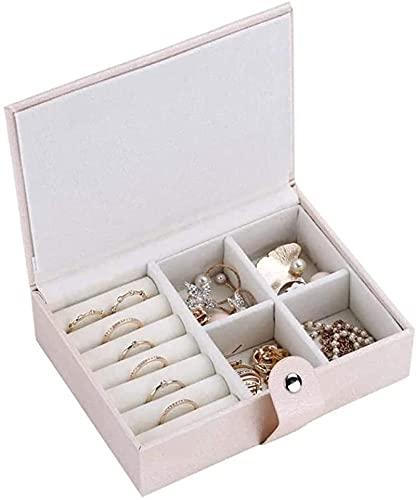 Makeup mirror DBL Mostrar Caja de Almacenamiento de Anillo con joyería de Diamante Caja de exhibición Joyeradora Organizador Collar Organizador Caja de joyería (Color : White)
