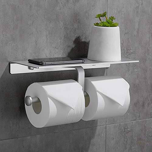 Gricol Toilettenpapierhalter mit Handyhalter Ohne Bohren Wandhalterung Doppelter Rollenhalter Klopapierhalter für Badezimmer (Silber)