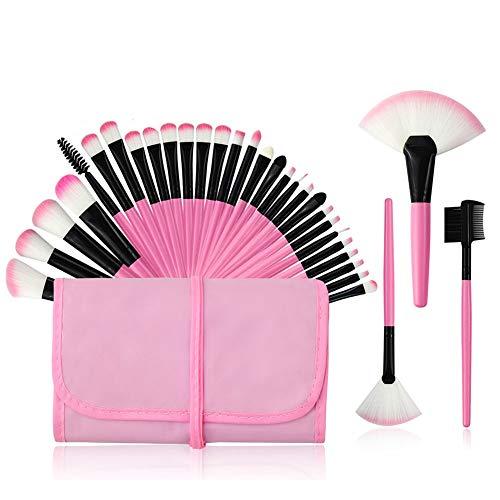 Brosse cosmétiques Fondation brosse ombre à paupières brosse lèvres brosse oeil de brosse pour le visage avec un sac en nylon, Make Up Brush Set Professional 32 pcs,Rose
