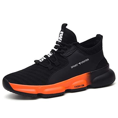YISIQ Sicherheitsschuhe Herren Damen S3 Arbeitsschuhe Leicht sportlich Atmungsaktiv Schutzschuhe mit Stahlkappen Sneaker,06 Schwarz Orange,44 EU
