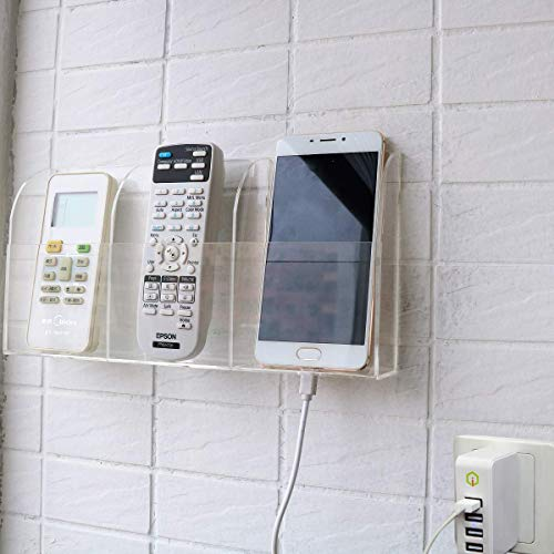 HyFanStr Transparente Fernbedienung Organizer, Fernbedienung Halterung Wand, Wandhalterung Fernbedienung Aufbewahrungsbox für Telefon