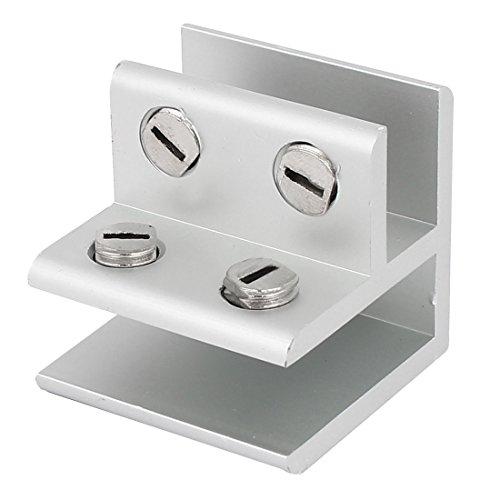 Aexit 12mm Terrassen & Zäune Dicke Glas Aluminium L geformte Klemme Clip Silber Ton Geländer & Latten 40x40x 40mm
