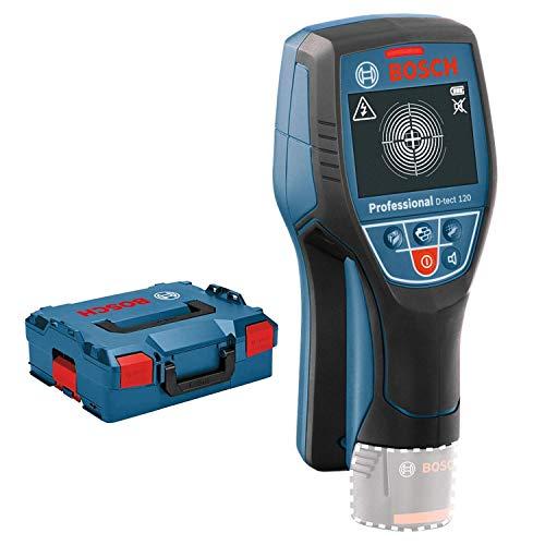 Bosch Professional 12V System Ortungsgerät D-tect 120 (ohne Akku, max. Ortungstiefe Kunststoffrohre/Holzunterkonstruktionen/spannungsführende Leitungen/Eisenmetalle: 60/38/60/120/120 mm, L-Boxx)