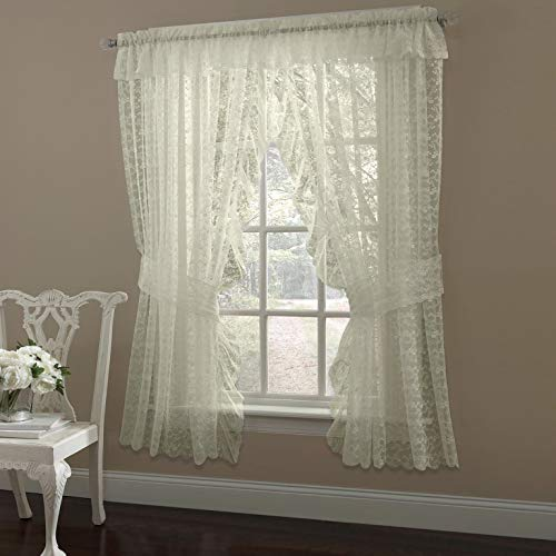 MISC 5 Piece Ivory Priscilla Curtains, Sheer Ruffle Curtain Panel Pair Set, Bohemian Lace Window Treatment Ruffled Floral with Valance Tiebacks Shabby Chic Scalloped Elegant, 63 Inch Polyester