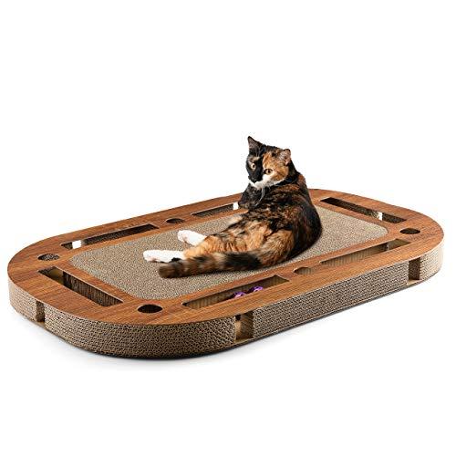 CanadianCat Company ® | Playplate 85 x 54 x 5,8 cm mit integrierter Kratzpappe Katzenspielzeug Kratzbrett