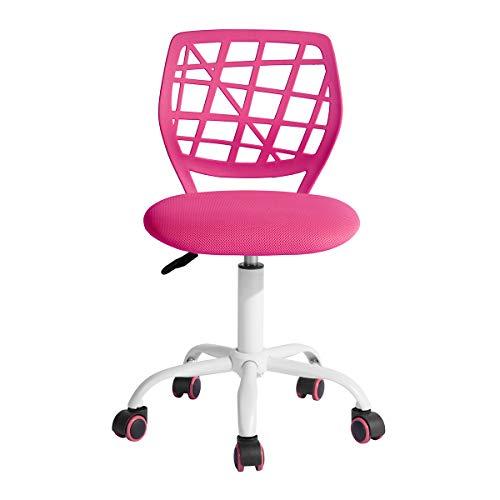 LeMonde Carnation - Siege Chaise de Bureau Enfant en Tissu Dactylo en Tissu Ajustable avec roulettes Rose