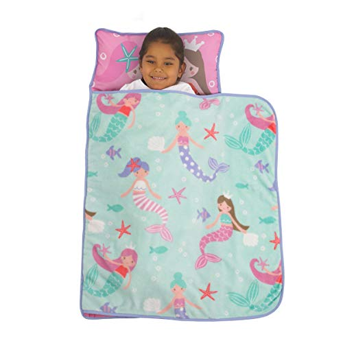 Everything Kids Pink & Aqua Mermaid Toddler Nap Mat with Pillow & Blanket, Aqua, Pink, Lavender, White