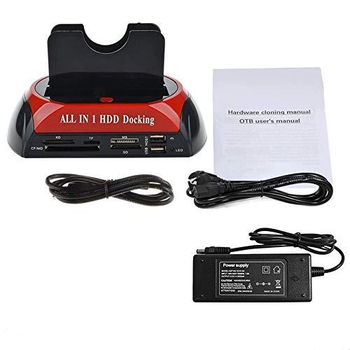 Estación de Acoplamiento HDD Multifuncional Dual USB 2.0 2.5/3.5 Pulgadas IDE SATA Disco rígido Externo HDD Box Unidad de Disco Duro Lector de Tarjetas