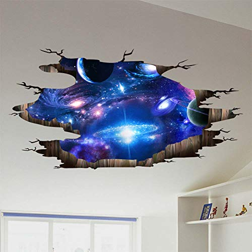 iwallsticker 3D Universum Galaxy Wandtattoo Decke Boden Fliesen Aufkleber Aufkleber für Kinderzimmer Wohnzimmer Badezimmer WC Sofa Hintergrund
