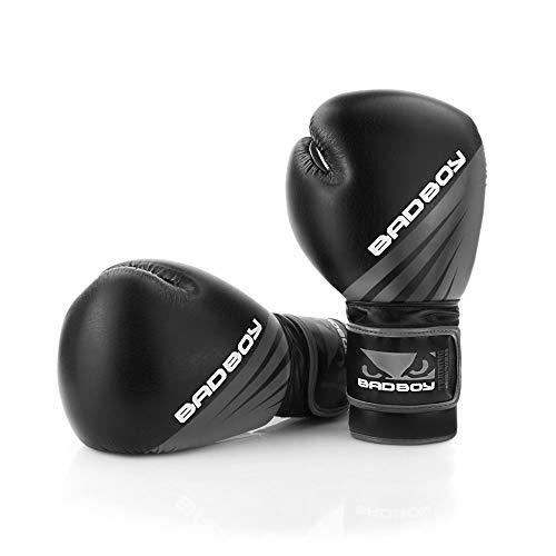 Bad_Boy Boxhandschuhe Training Series Impact - Black/Grey - Boxhandschuhe Kickboxen Boxen Muay Thai Sparring Thaiboxen (10 Unzen)