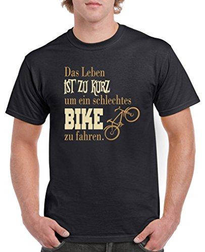 Comedy Shirts - Das Leben ist zu kurz um EIN schlechtes Bike zu Fahren - Herren T-Shirt - Schwarz/Hellbraun-Beige Gr. 4XL
