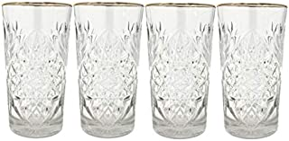 Libbey - Hobstar - Longdrinkglas, Wasserglas, Saftglas - Kristall - mit edlem Goldrand - 4 Stück - 470 ml