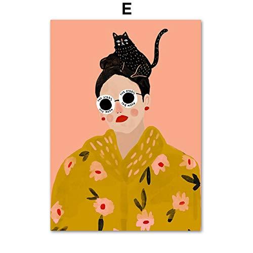 TYLPK Mode Brille Mädchen Liebhaber Tier Wandkunst Leinwand Gemälde E4 60X80 cm No Eingerahmt