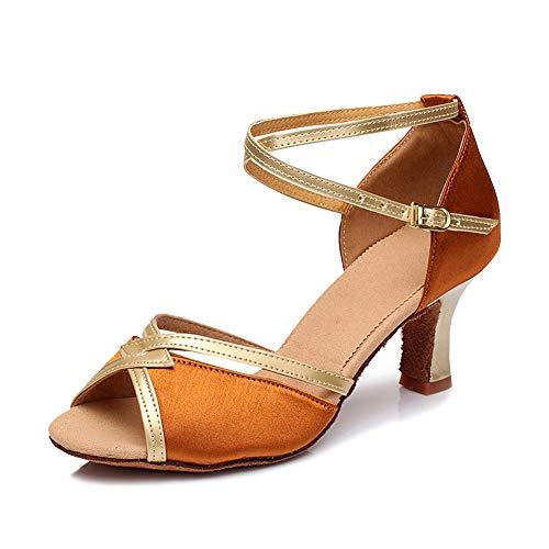 LSHEL Damen Tanzschuhe Gesellschaftstanz Pumps Latein Schuhe Salsa Tango Ballroom Tanzschuhe - 5cm, Hautfarbe + Gold, 40 EU