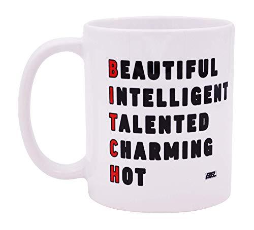 La mejor taza de café divertida Hermosa y inteligente Acrónimo Novedad Taza Broma Gran idea de regalo de broma para sus mujeres Trabajo de oficina Humor adulto Empleado Jefe Compañeros de trab