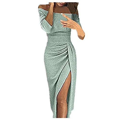 Briskorry Damen Glitzer Paillettenkleid Langarm Abendkleid Partykleid Cocktailkleid Brautkleid Festliches Kleid Sexy Clubwear Bodycon Knielang Bleistiftkleid Wickelkleid Dress