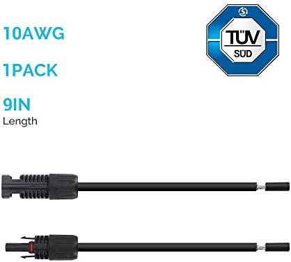 Renogy 9In 12AWG Solar Adaptor Wire Extension Cables with Female and Male Connector, 1 Pair