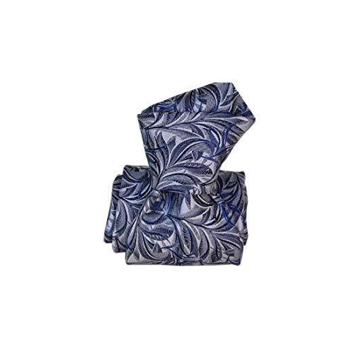Segni et Disegni. Cravate classique. feuilles, Soie. Bleu, Paisley. Fabriqué en Italie.