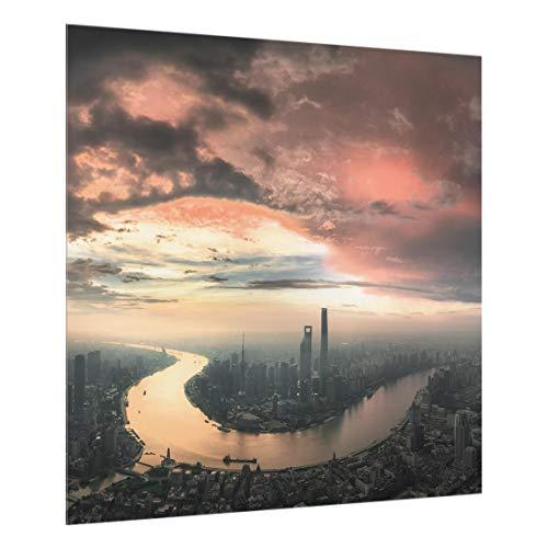 Bilderwelten Spritzschutz Glas Küchenrückwand Shanghai am Morgen, 59cm x 60cm