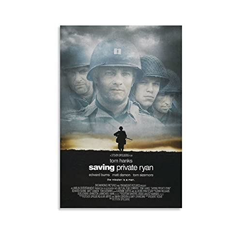 lomanis Saving Private Ryan Movie Poster Canvas Art Poster and Wall Art Picture Print Modern Family Bedroom Office Decor Posters 12×18inch(30×45cm)