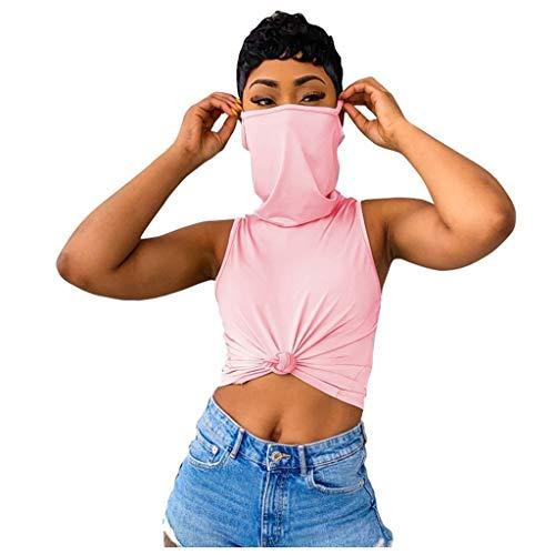 Sweats à Capuche sans Manches avec Masque, T-Shirt, Sweat-Shirt d'impression,Manches Courtes T-Shirt Nouveau coronavirus modèle T-Shirt Covid- d'été du Nouveau T-Shirt Top des Jeunes en Vrac Chemise