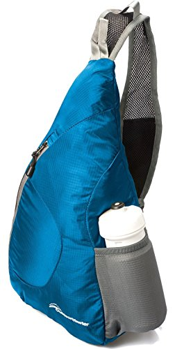 OutdoorMaster ワンショルダーバッグ 斜めがけバッグ ボディバッグ メンズ レディース 折り畳み収納可能 アウトドア軽量 防水 7色 (青)