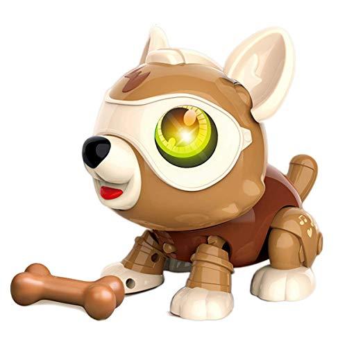 YZHM Stem DIY Robot Dog Dog Smart Puppy Inteligente Inteligente EDUCACIONAL Magica Mage Pet Animales de Juguete para niños (marrón)