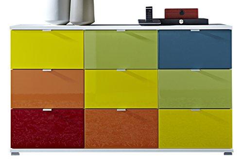 Germania 8793-84 10-tlg. Sideboard-Set Colorado in Weiß/Bunt, 144 x 84 x 40 cm (BxHxT)