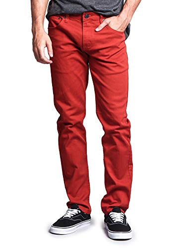 Victorious Men's Skinny Fit Color Stretch Jeans DL937 - Burnt Orange - 34/32